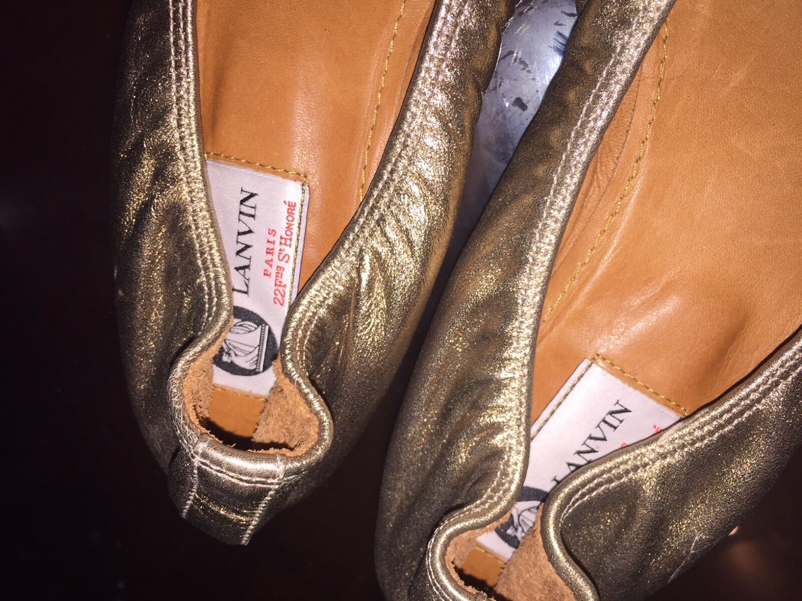 LANVIN METALLIC or SUPER SOFT LEATHER WEDGED FAMOUS BALLERINA FLATS FLATS FLATS WITH A BOW 842a01