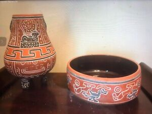 Aztec Design Red Clay Pottery Pottery Vase Vintage Handmade