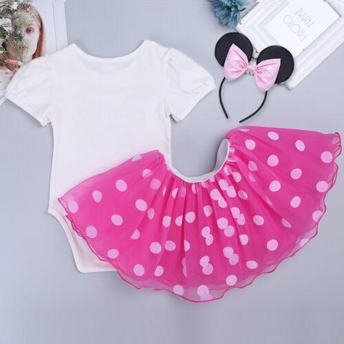 Girls Baby Kids Minnie Mouse Birthday Party Tutu Dress Headband Romper Costume