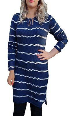 Ladies UK Size 10 - 18 Jumper Knit Striped Dress Navy White