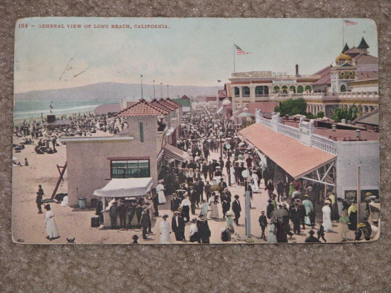 General View of Long Beach, California 1908, used vintage card