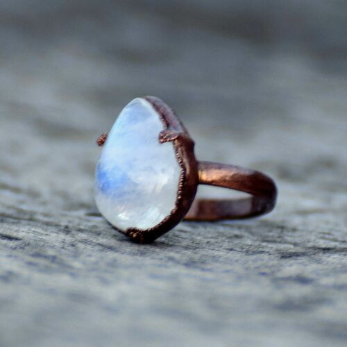 Genuine Moonstone Gemstone Fashion Stackable Party Wear Design Stackable Ring