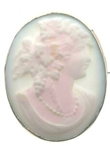 9-Carat-Yellow-Gold-Pale-Pink-Conche-ShellCameo-Brooch-Vintage-5-18-Grams