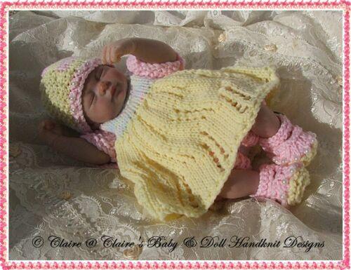 "Babydoll Handknit Designs Knitting Pattern Patchwork Robe /& Veste 6-11/"" doll"