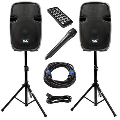 active 15 inch pa speaker system bluetooth wireless mic stands and cables 847861045289 ebay. Black Bedroom Furniture Sets. Home Design Ideas