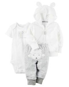 OSHKOSH B/'Gosh Boy Girl White Terry Hooded Jacket Infant Baby Toddler 18 months
