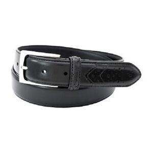 Florsheim Black Men's Belt, Men's Black Dress Belt Style 2092. Black Wing Tip