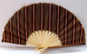 Handmade-Batik-Bamboo-Folding-Hand-Fan-Brown-Red-S-New
