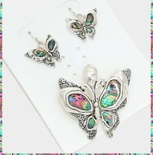 "NEW Abalone Butterfly Silver Pendant Earrings Set Necklace With 23"" Chain"