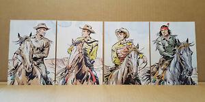 TEX-personaggi-set-4-cartoline-10x15-Aurelio-Galeppini-LO-VECCHIO-EDITORE-1982