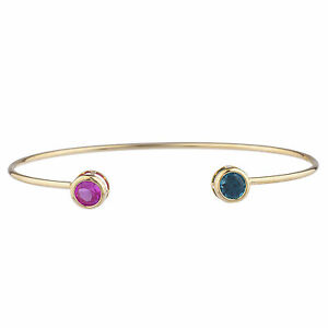 14Kt-Yellow-Gold-Plated-Pink-Sapphire-amp-London-Blue-Topaz-Round-Bezel-Bangle