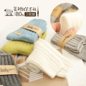 80-Lamb-wool-womens-Girls-Knit-Thermal-Socks-winter-Soft-warm-thick-socks-NEW