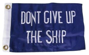 """12x18 Embroidered Commodore Perry Don't Give Up The Ship 600D Nylon Flag 12""""x18"""""""