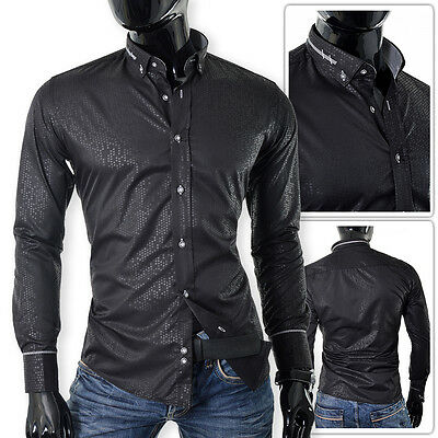 BLACK Men's Shirt 3XL Pierre Martin | Shimmering OUTLET Cufflinks | FREE POST!