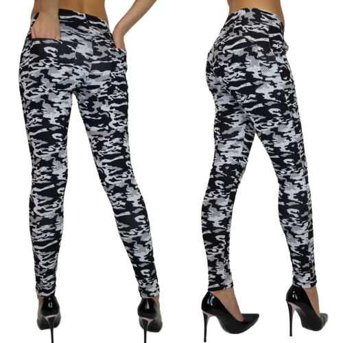 NEW WOMENS LADIES CAMOUFLAGE CAMO ARMY LEGGINGS WITH POCKETS 6 8 10 12 14 16 18