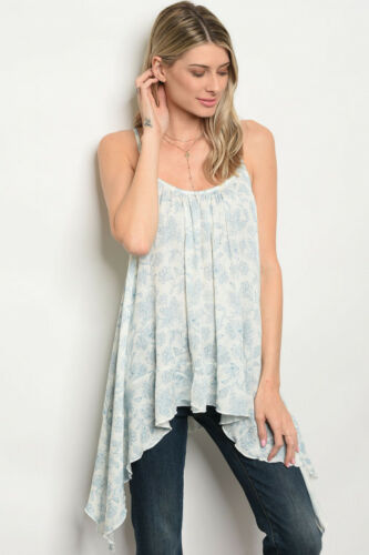 Women Off White Shark Bite Patterned Tunic Tank Top Blouse Relaxed Casual Boho