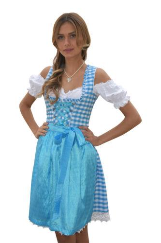 Dirndl Set 3tlg Trachtenkleid 323GT Blau/&Weiß kariert Oktoberfest Gr 34 bis 42