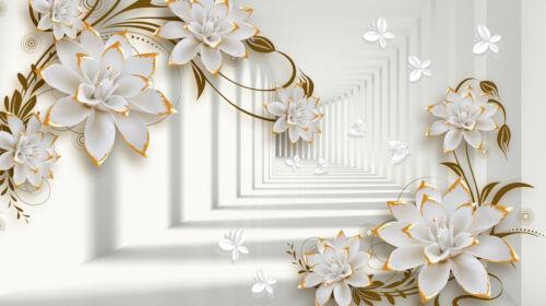 -3D Blumen Perle Diamanten Schmuck Luxus 2151V VLIES Fototapete-ABSTRAKT DESIGN-