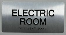 Electric Room Silver Tactile Touch Braille Sign Brush Silver4x8ref0420