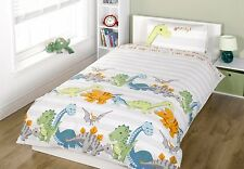 NEW KIDS CHILDRENS NATURAL BABY DINOSAURS SINGLE BED DUVET COVER BED SET