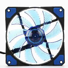 3 Pin/4 Pin 120mm 15-LED blau Computer PC Gehäuse Lüfter Leise Kühler Kühlung