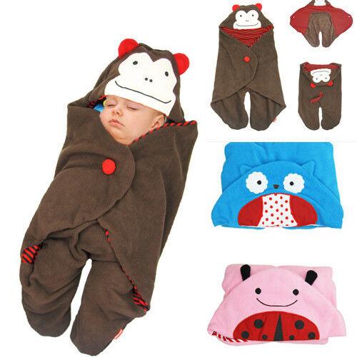 New Baby Infant Warm Animal Swaddle Blanket Wrap Sleepsacks Sleeping Bag 4 Types
