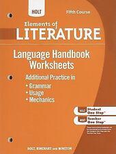 Holt Elements of Literature: Language Handbook Worksheets: Grammar, Usage, and M