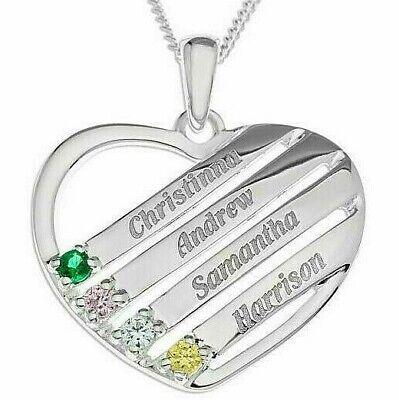 """Personalise Heart Shape 3 Name Pendant Necklace Birthstone Family Keepsake 18/"""""""