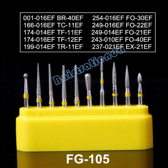 10pcs Dental FG Diamond Burs FG-105 Ceramic Porcelain Composite Polishing Kit