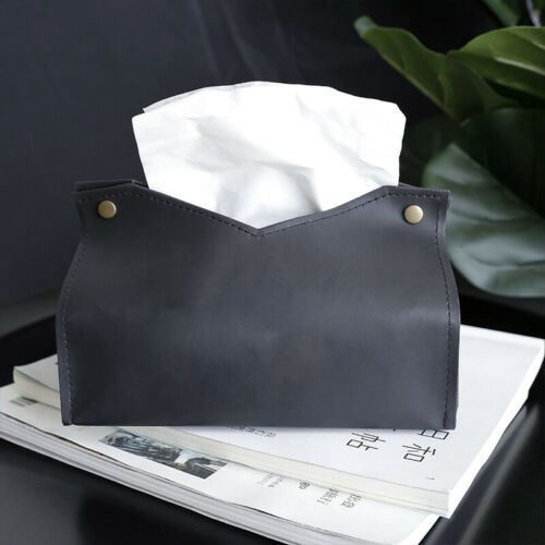 PU Leather Tissue Box Holder Cover Car Room Office Table Napkin Case Home Storag