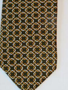 Brooks-Brothers-Men-039-s-Silk-Necktie-Brown-Geometric-Chain-Link-Pattern-NWOT
