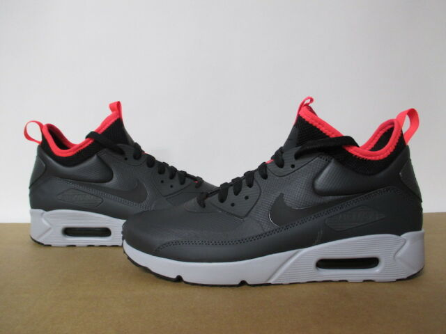 NIKE AIR MAX 90 ULTRA MID WINTER ANTHRACITE BLACK SOLAR RED 8 13