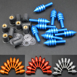 Motorcycle Windscreen Silver Spiked Bolt Kit Well Nuts Bolts Set Washers Screws