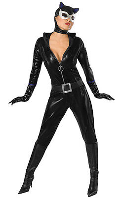 Womens Cat Woman Costume Suit Pleather Leather Vinyl Cosplay Fancy Dress Adult