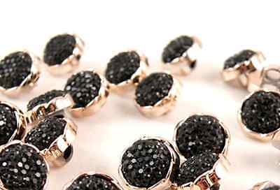 LOT 6 BOUTONS NOIR STRASS PIERRE  A COUDRE COUTURE 12,5mm LAYETTE GILET TRICOT
