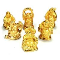Set Of 6 Golden Happy Buddha Statues 2 Gold Color Hotei Fat Laughing Resin Lot