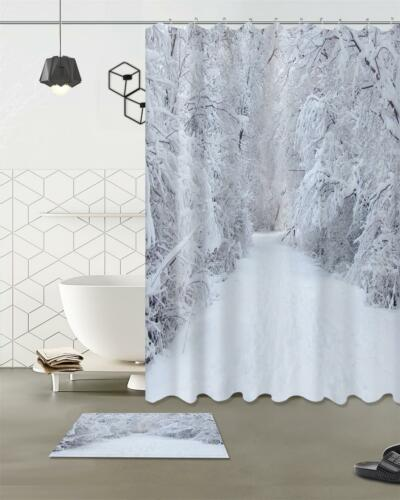 Snowing Forest Xmas Scenic Waterproof Fabric Polyester Shower Curtain Mat /&Hooks