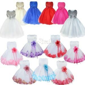 7d1ca342079f Baby Princess Bowknot Wedding Pageant Communion Baptism Party Flower ...
