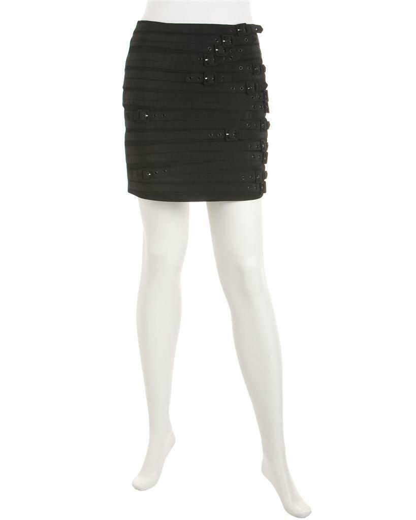 89 Madison Marcus Noir à Boucle résister Mini Jupe Taille XS Xtra-Petit Neuf Avec Étiquettes