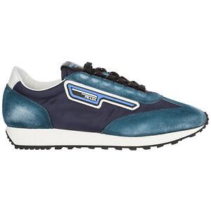 Prada sneakers men 2EG276_3KUY_F0008 Bleu logo detail suede shoes trainers