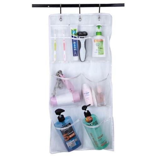 8 Pockets White Mesh Non-Woven Bathroom Storage Bag Shower Organizer Hanging