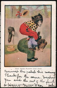 BUSY BEAR Antiqiue Postcard Austen Dressed Playing Leap Frog Old Vtg Greeting