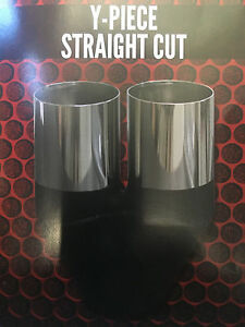 """Out  2 1//2/"""" CHROME EXHAUST TIP 3 1//2/"""" Angle Cut Rolled In 90mm In 63mm"""