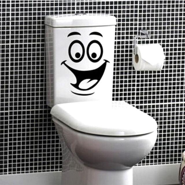 Smiley Face WC Toilet Decal Wall Mural Art Decor Funny Bathroom Sticker Viny WBC