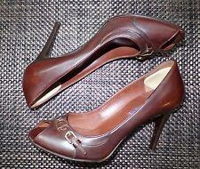 Polo Ralph Lauren Purple Label Peep Toe Heels Pumps Brown Tan Italy 9 Stiletto