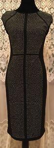 Joseph-Ribkoff-Womens-Sheath-Style-Dress-Size-8-Black-Silver-Studs-Sleeveless