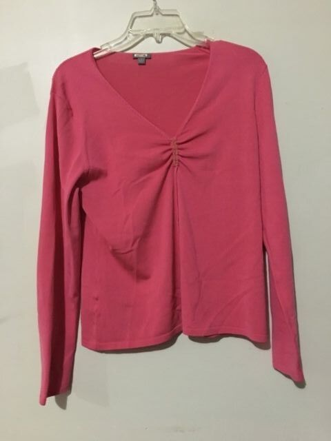 Ann Taylor Silk Blend Coral Size M Sweater Top Blouse Women ID 8062D