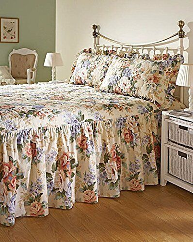 Diana Cowpe Luxury Printed Quilted Bedspread Sets with 22inch Valance Made in UK