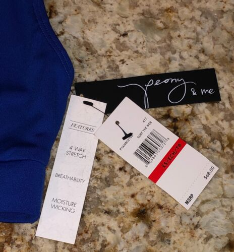 Details about  /PEONY AND ME Sheer Mesh Panel Surf The Web Blue Black Sports Bra NEW Womens XS