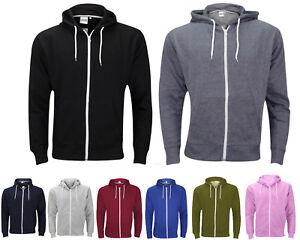 New-Plain-Mens-American-Fleece-Zip-Up-Hoody-Jacket-Sweatshirt-Hooded-Zipper-Top